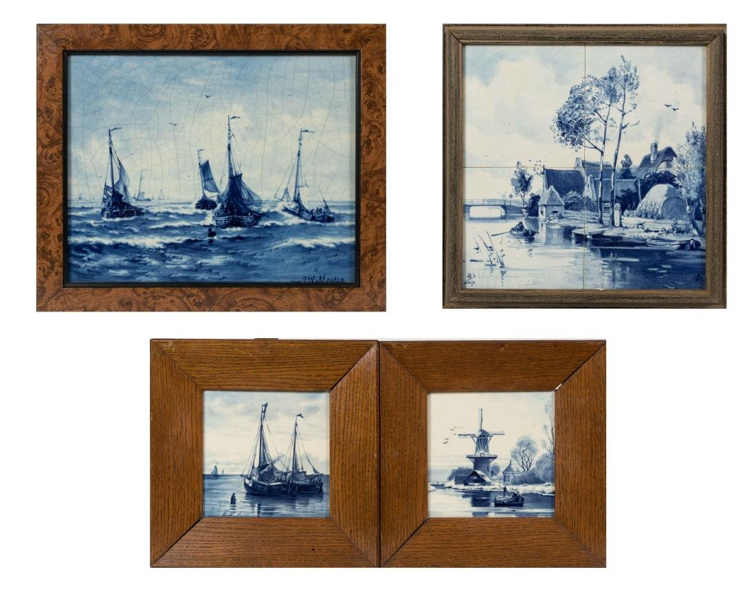 Five Delft Plaques and Tiles