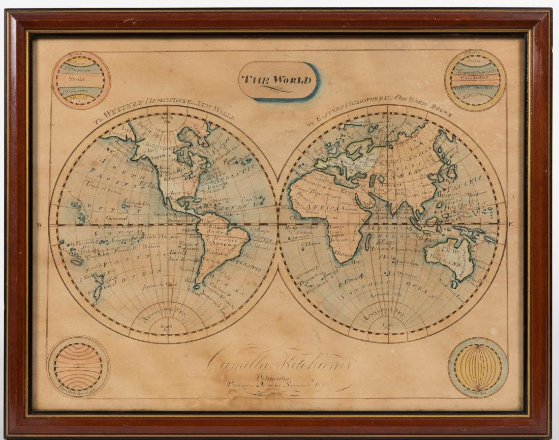 19th Century Hand Painted Terrestrial Map