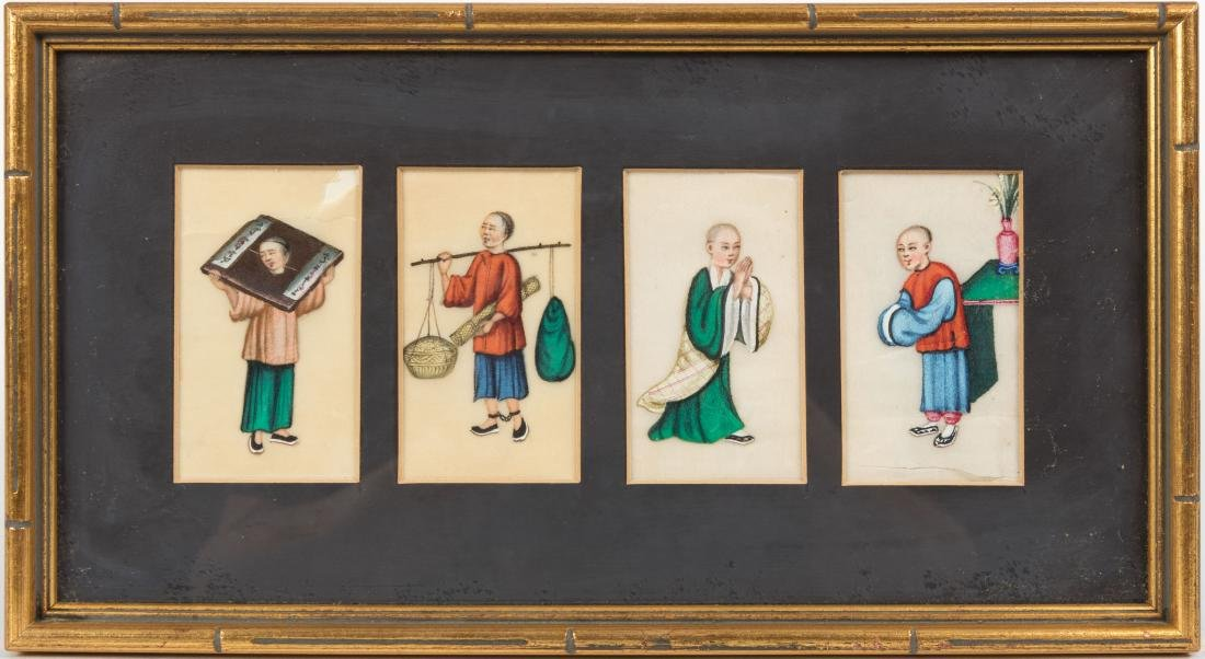 Chinese Tetraptych Painting on Rice Paper