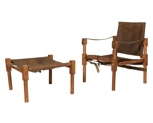 Awe Inspiring Norell Style Leather Sling Chair And Ottoman Spiritservingveterans Wood Chair Design Ideas Spiritservingveteransorg