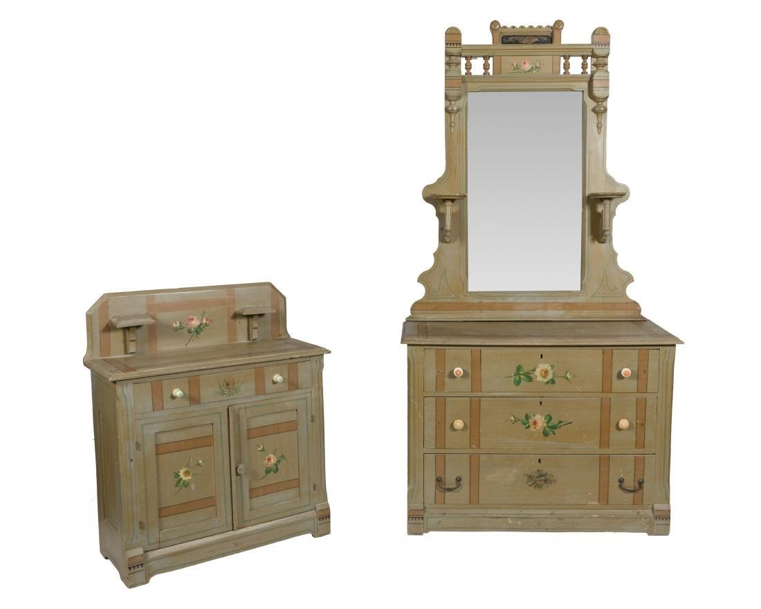 Victorian Cottage Dresser, Mirror and Washstand