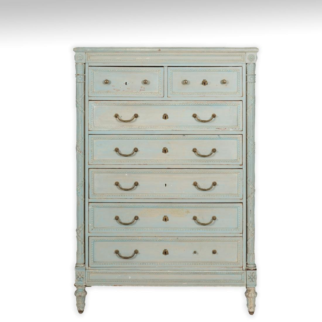 French Painted High Chest of Drawers