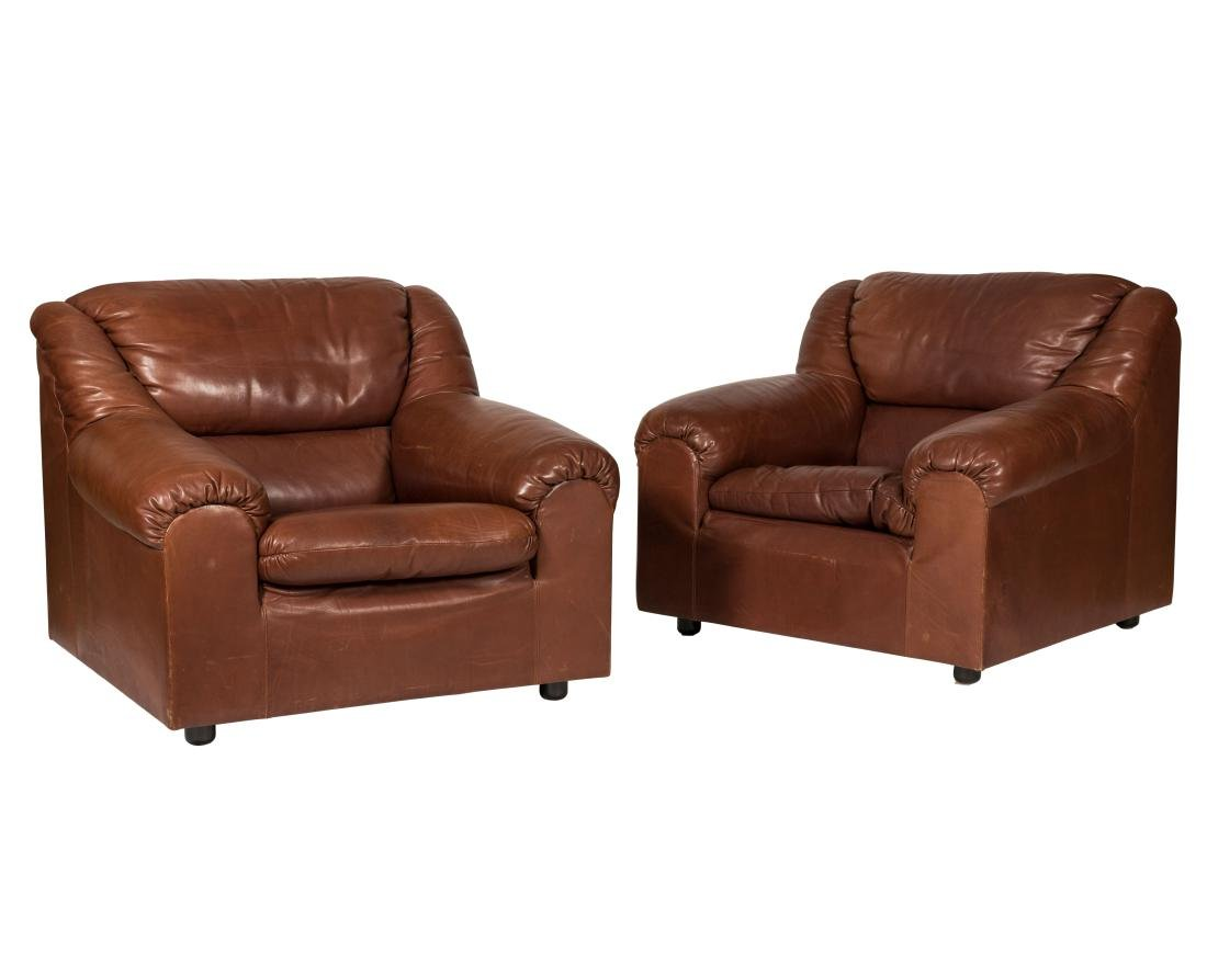 Pair Roche Bobois Chairs and Ottoman