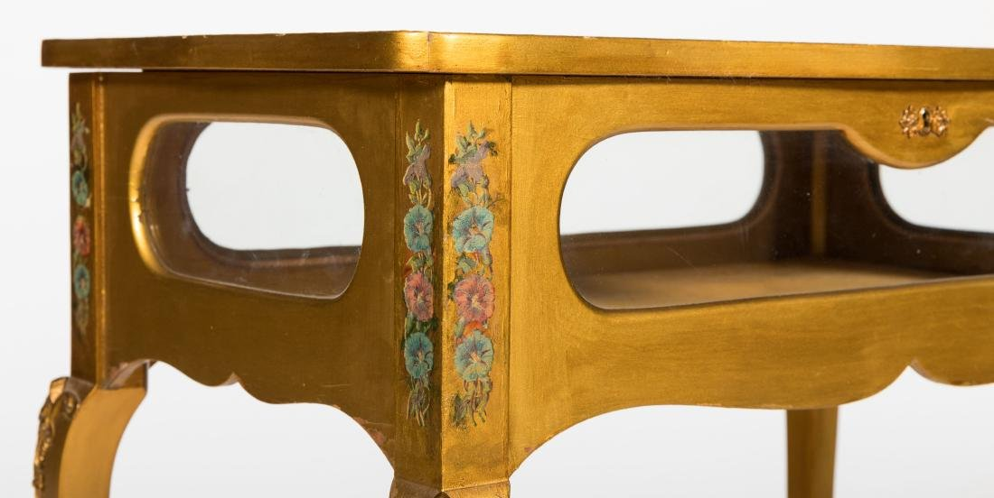 French Gilt and Floral Lift Top Vitrine - 2