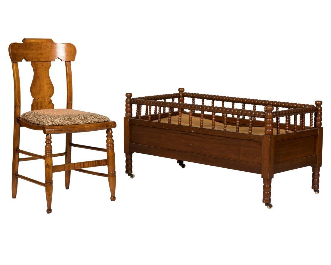 Birdseye Maple Chair and Jenny Lind Crib
