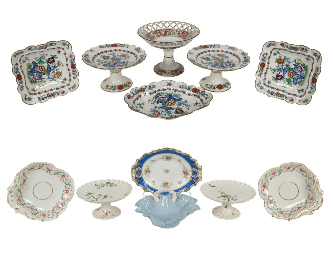 English Soft Paste Compotes and Serving Pieces