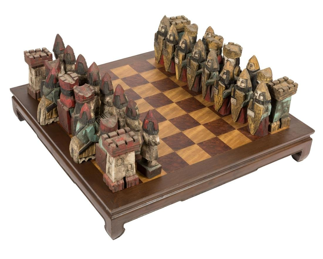 Large Carved Wood Chess Set