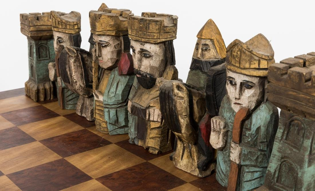 Large Carved Wood Chess Set - 4