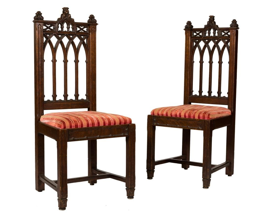 Pair Carved Gothic Chairs Oct 05 2017 Regency Auction House In Nj