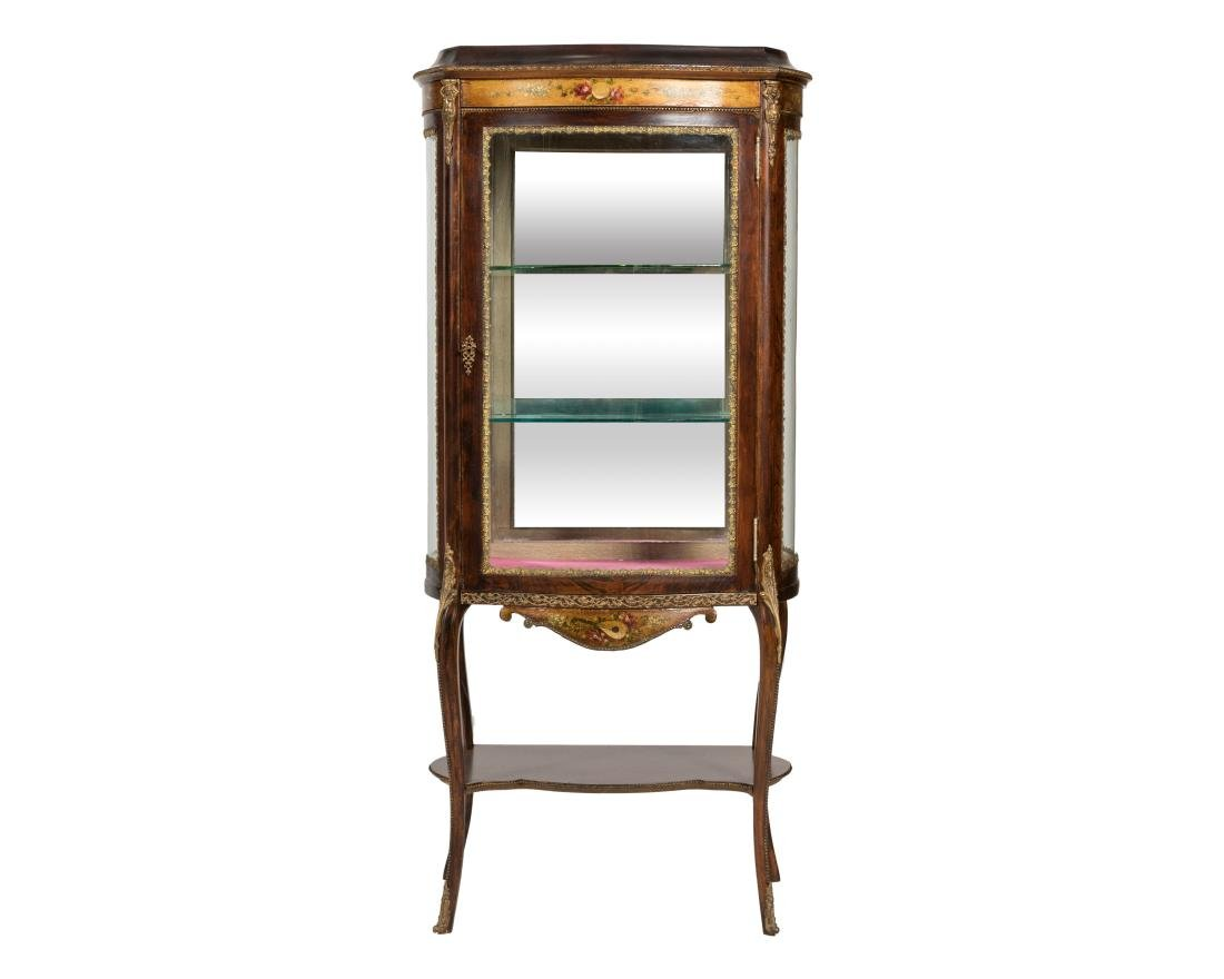 French Curved Glass Vitrine Cabinet