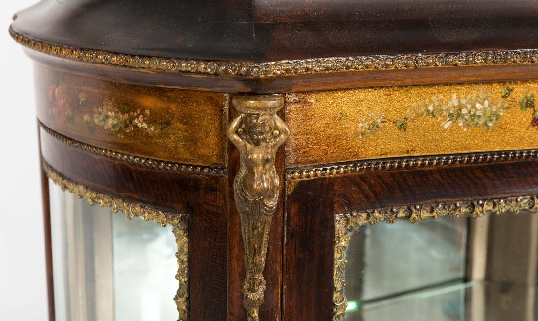 French Curved Glass Vitrine Cabinet - 4