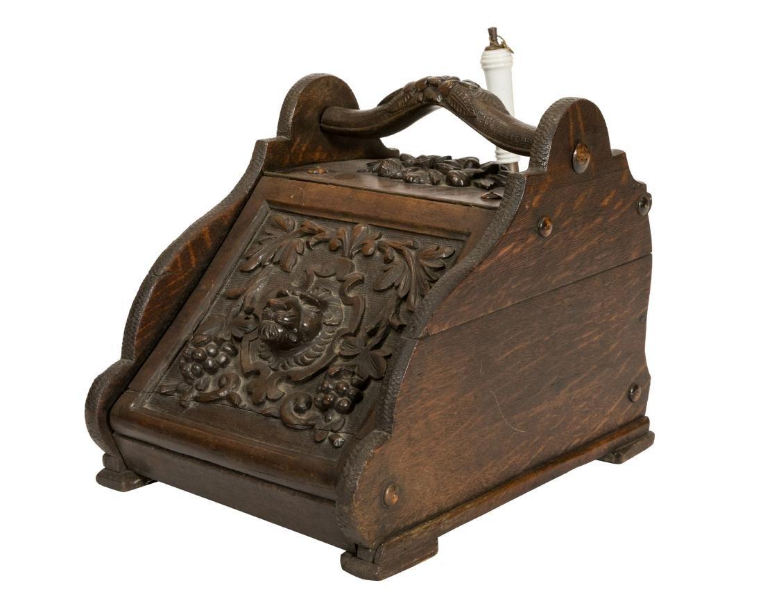 Carved Victorian Coal Scuttle