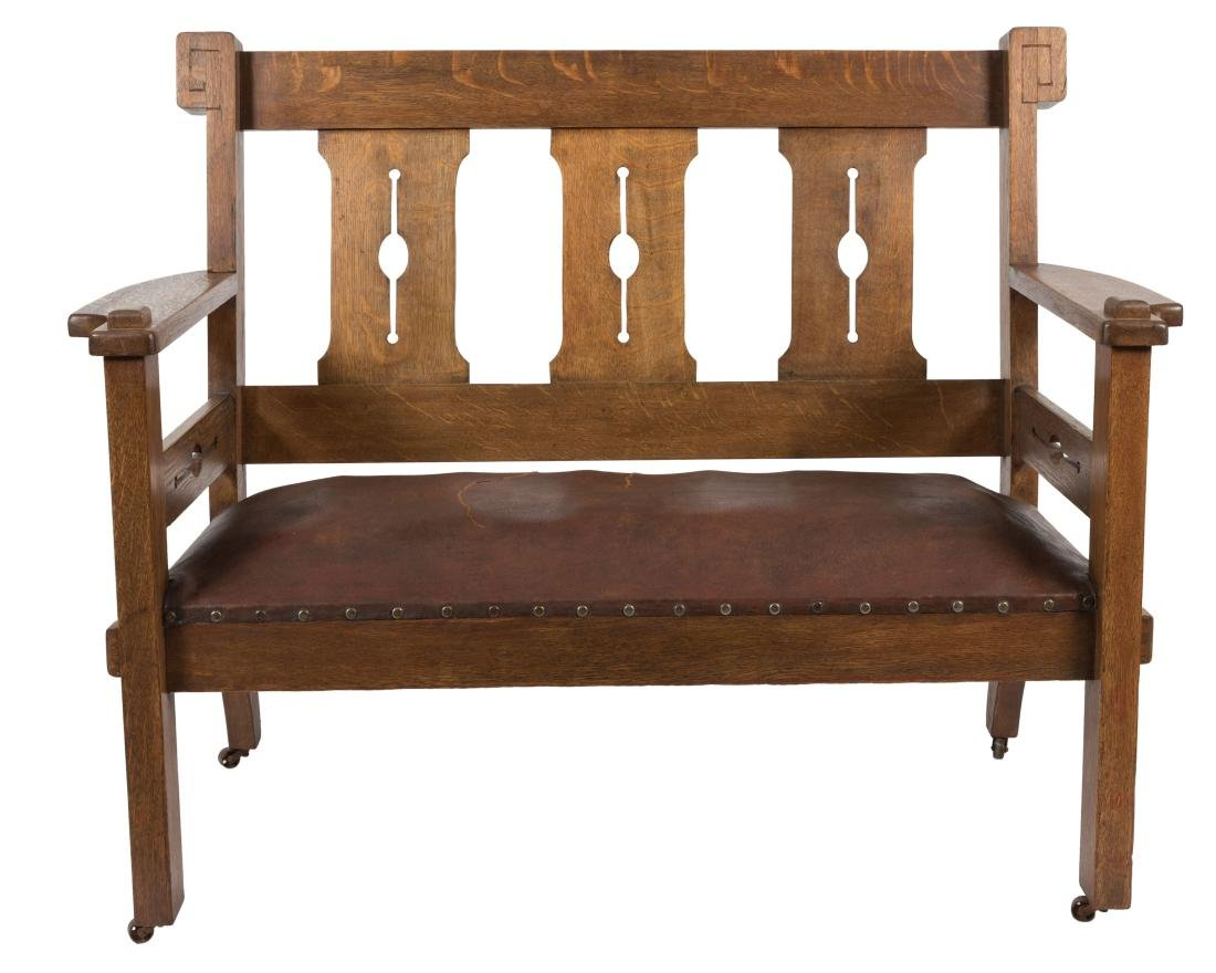 Arts and Crafts Mission Oak Bench