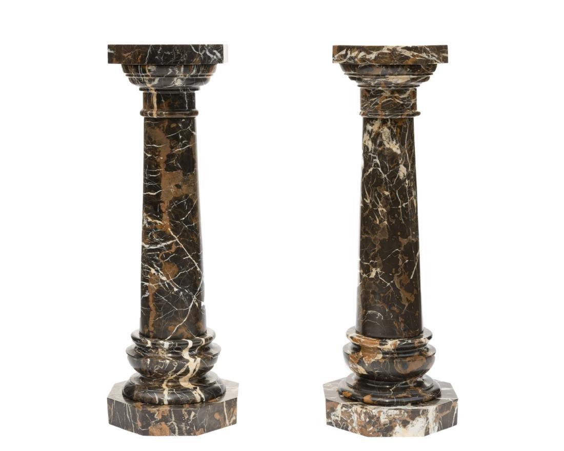 Pair Multicolor Five Part Marble Pedestals