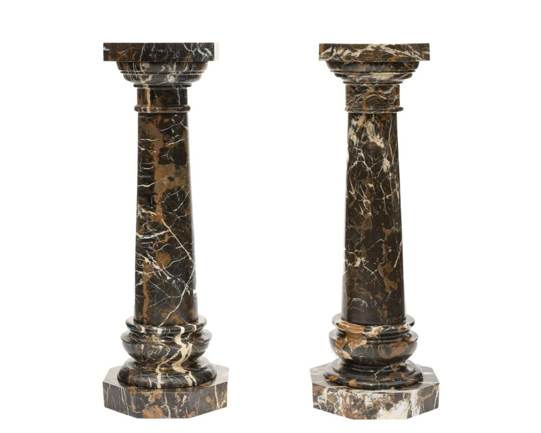 Pair Multicolor Five Part Marble Pedestals