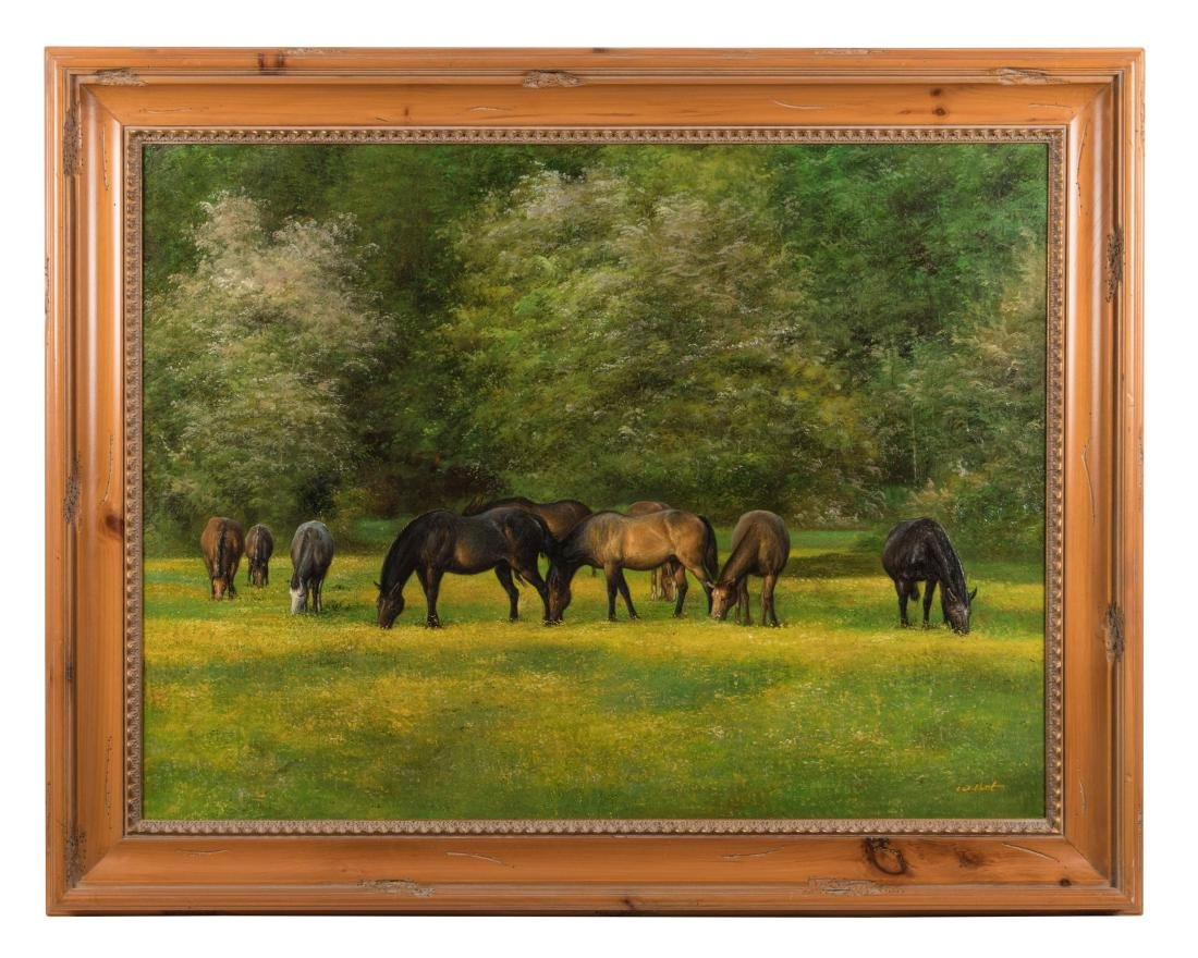 Large Oil Horses - Signed W. Hunt