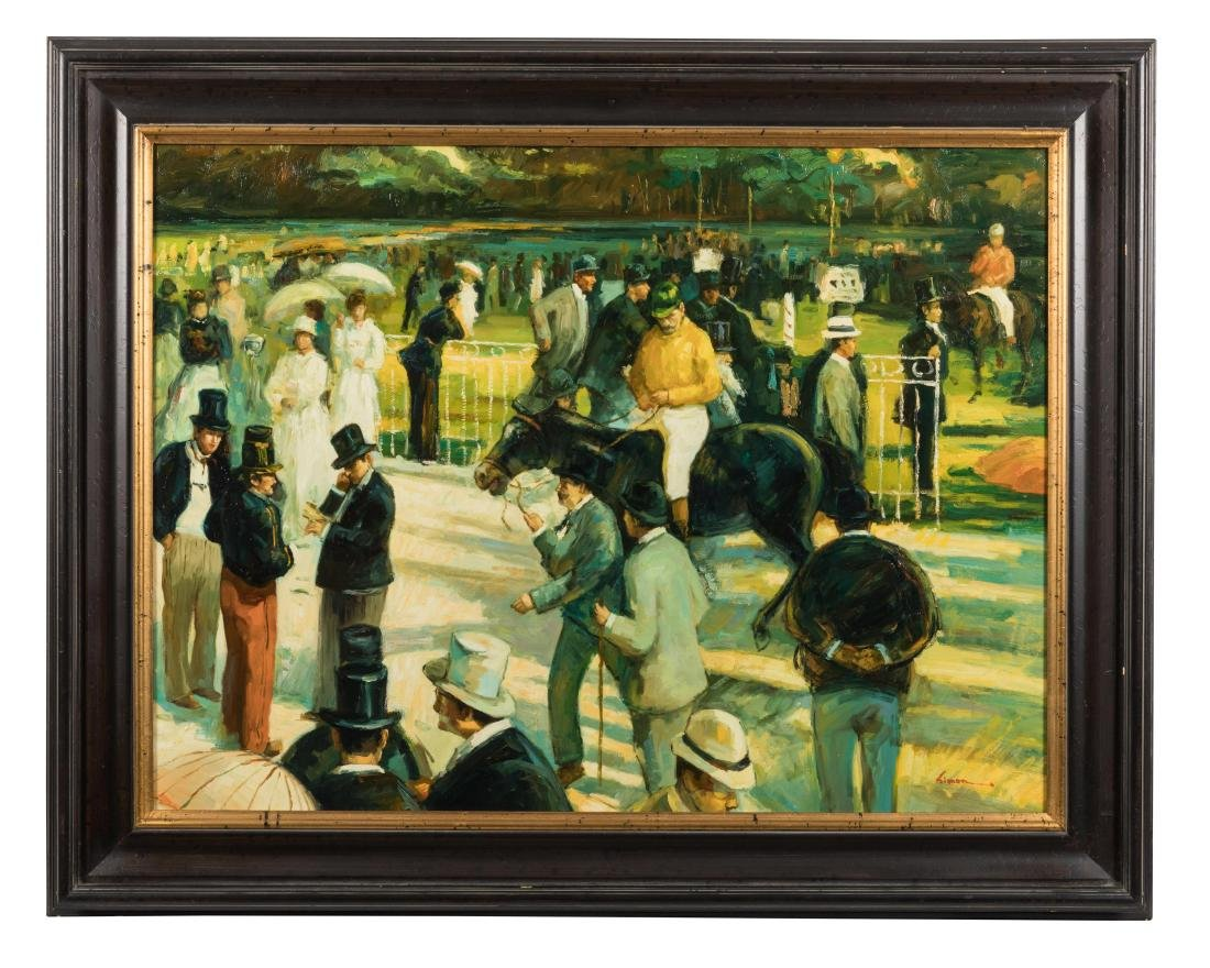 Horse Racing - Oil - Signed Limon