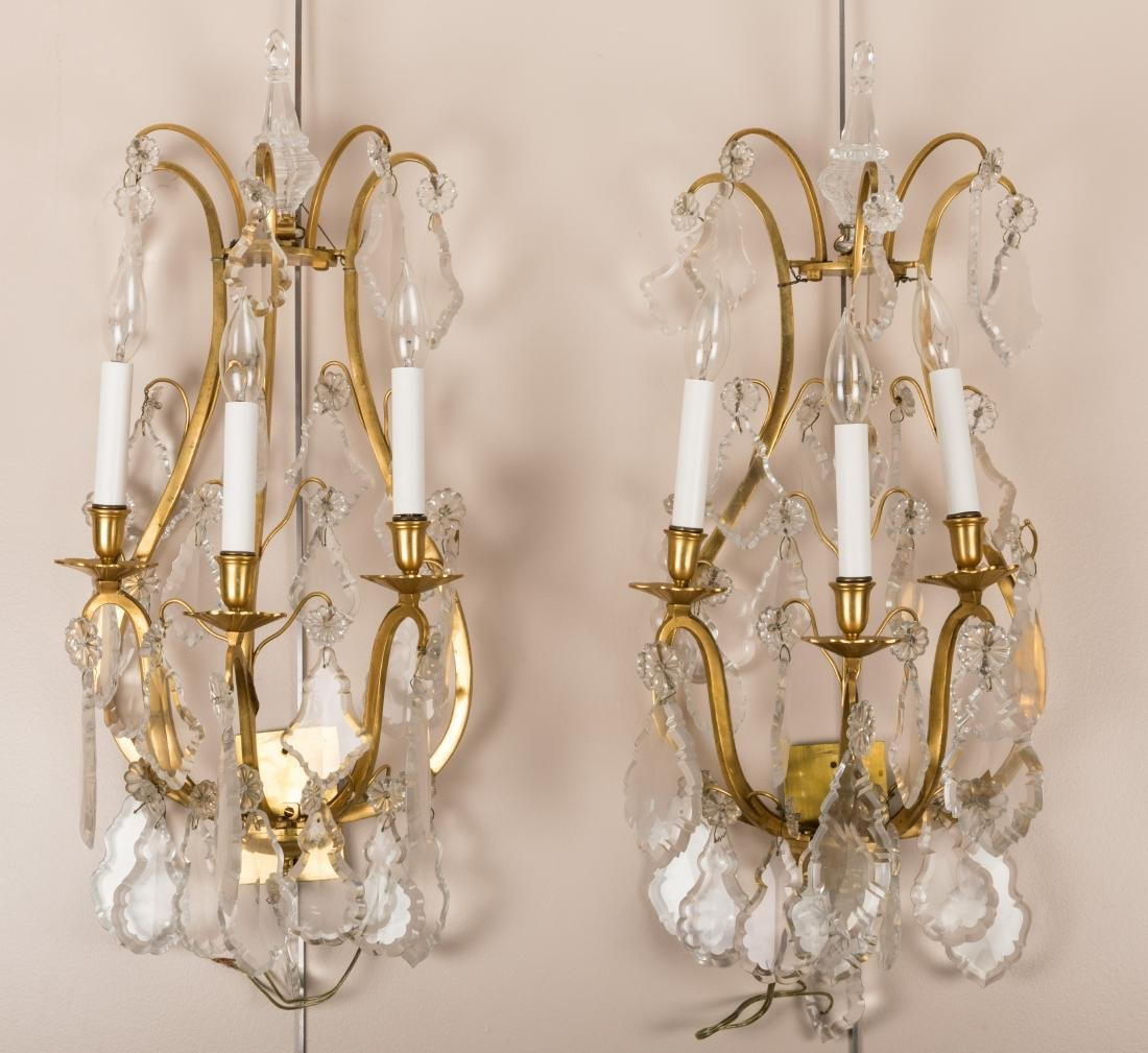 Pair Bronze and Crystal Sconces