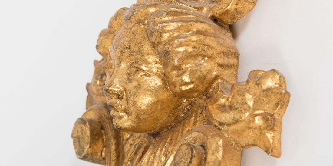 Pair Figural Giltwood Sconces - 2