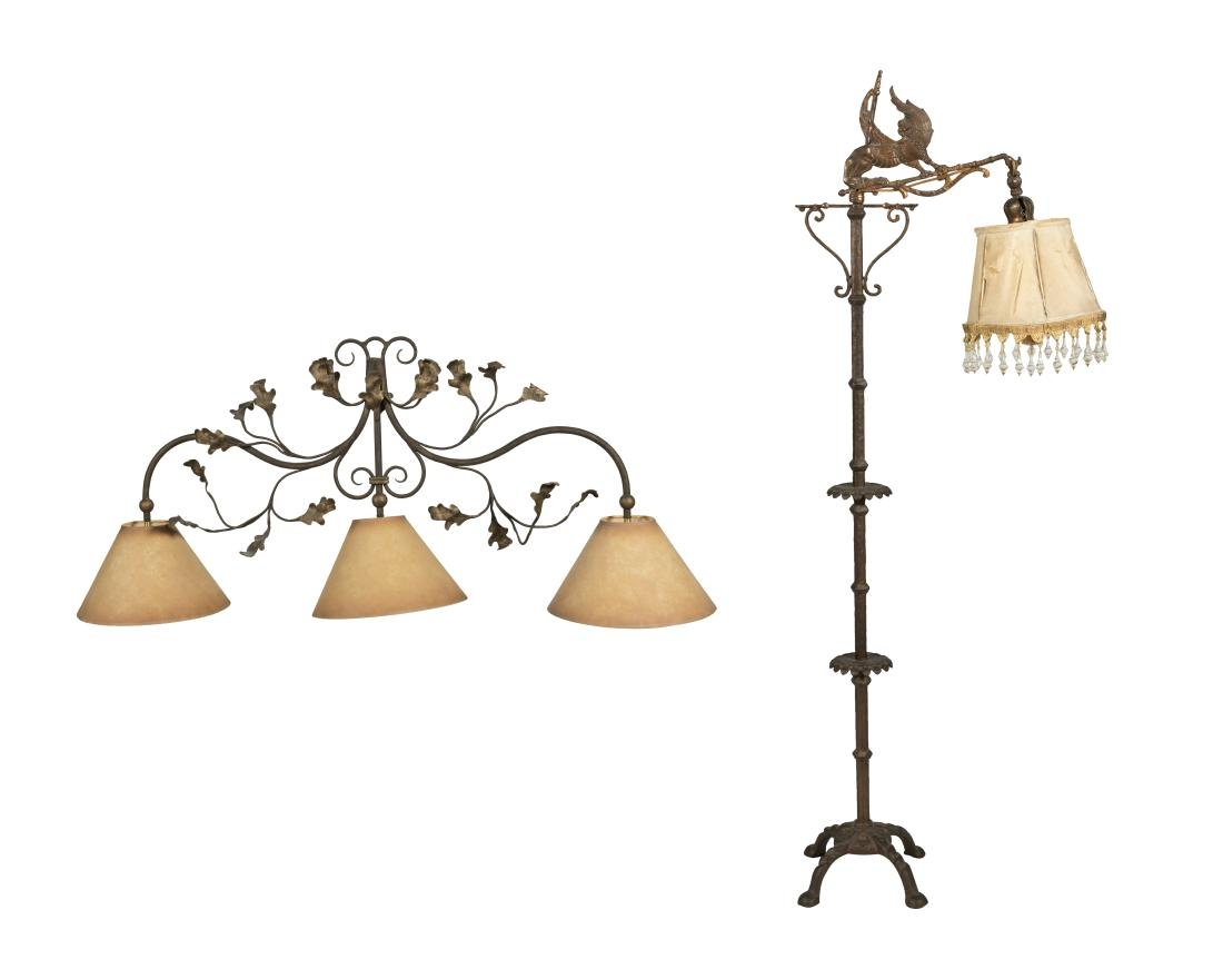 Figural Iron Floor Lamp and Iron Sconce