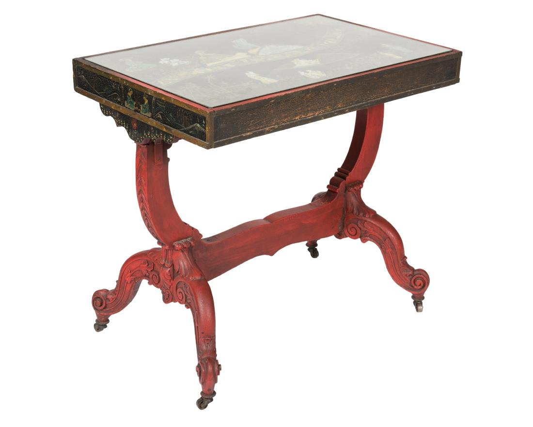 Carved Chinese Painted Table