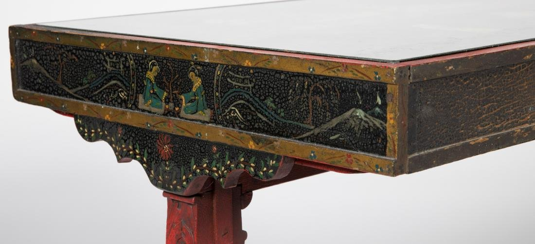 Carved Chinese Painted Table - 2