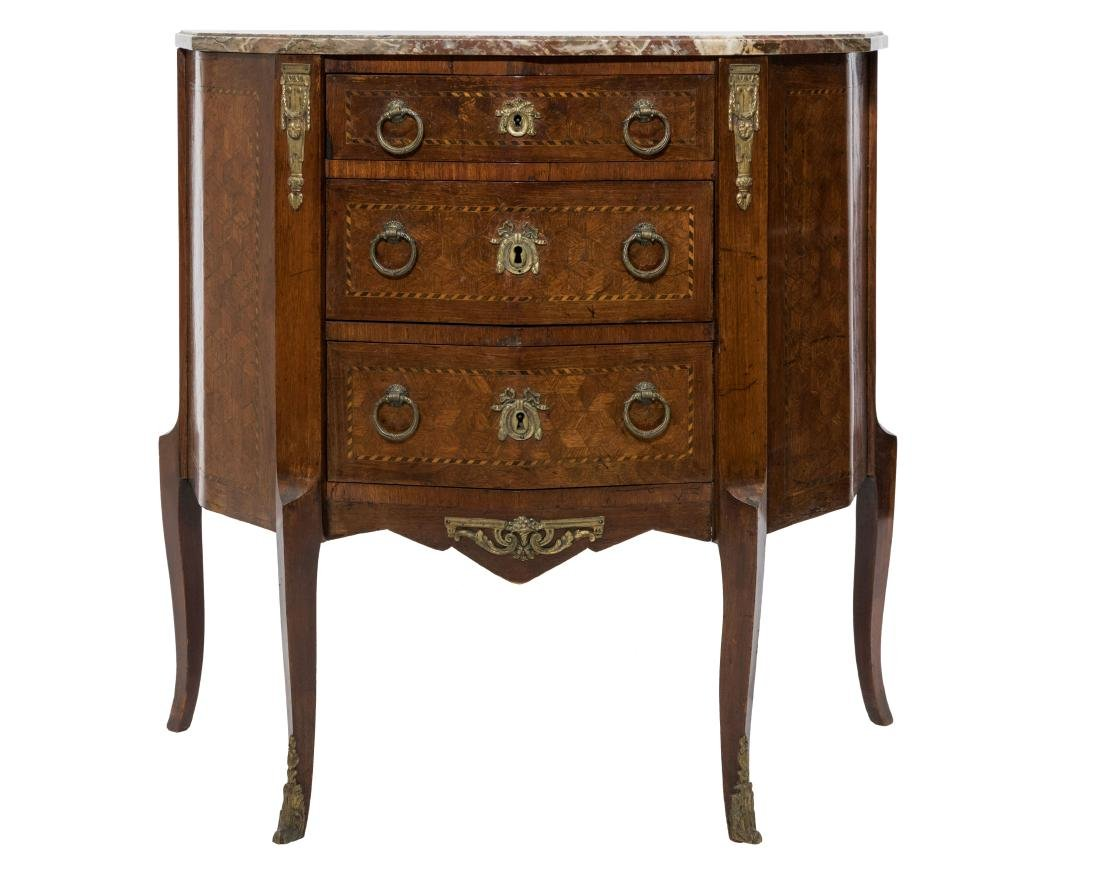 Inlaid French Marble Top Commode
