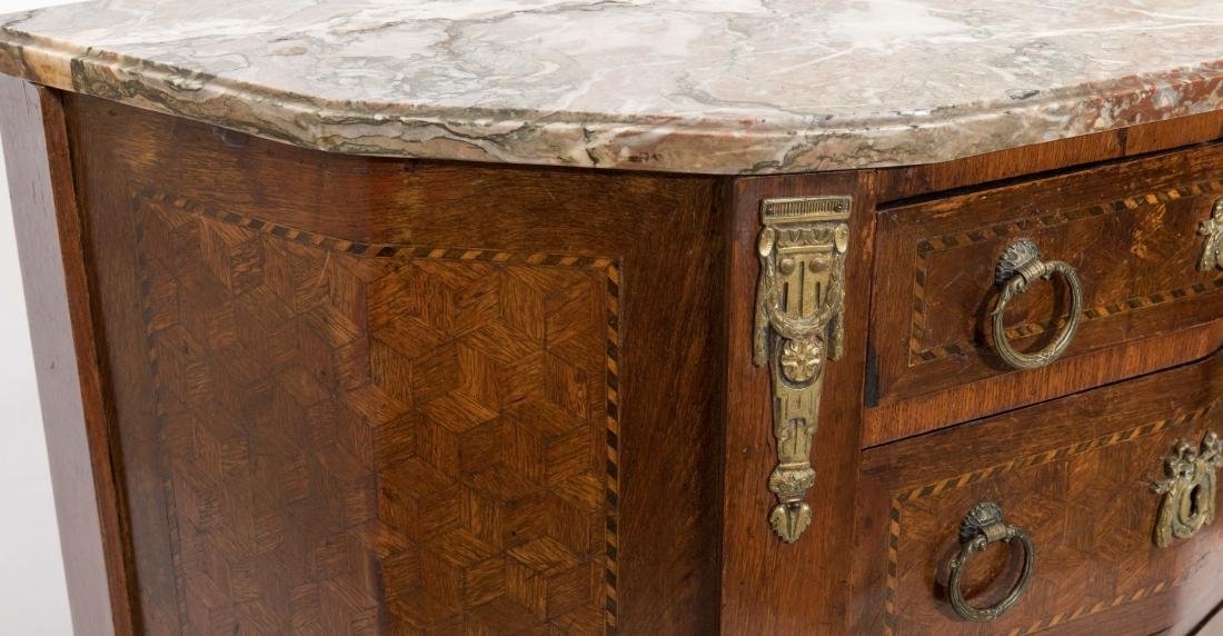 Inlaid French Marble Top Commode - 2
