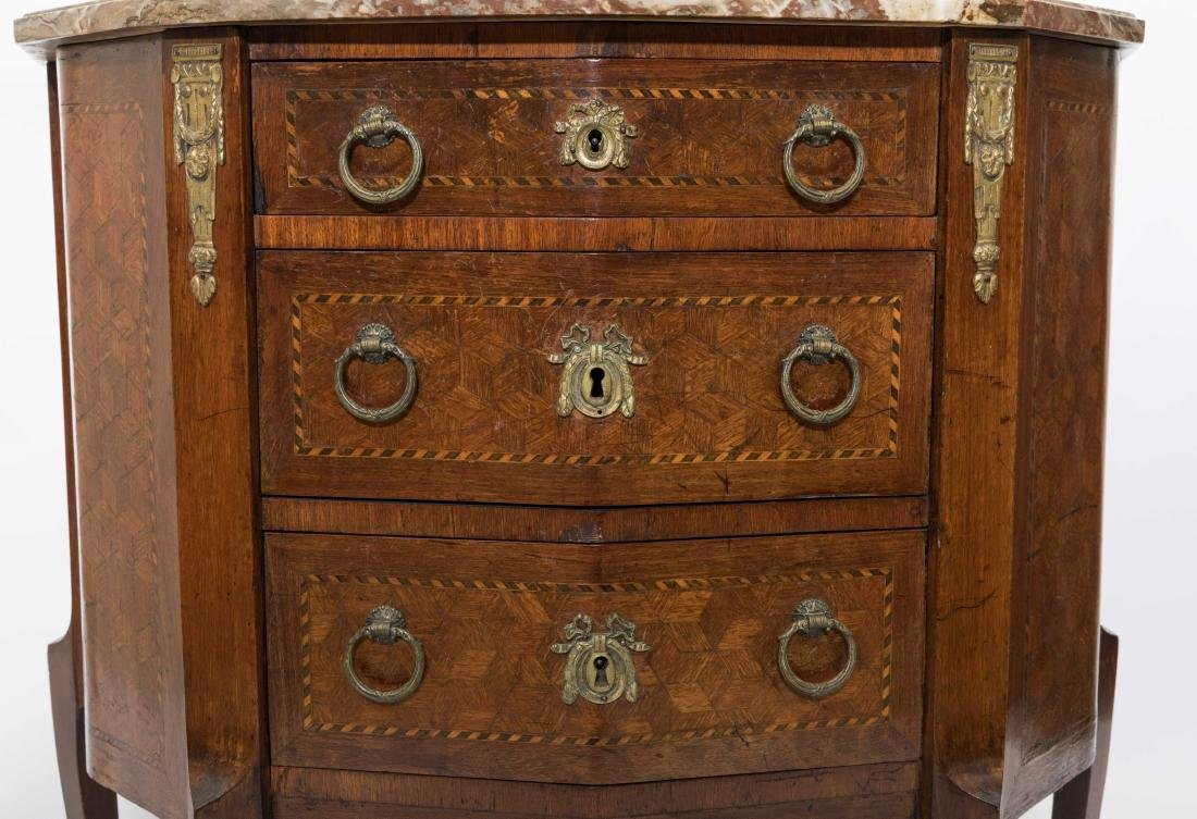 Inlaid French Marble Top Commode - 5