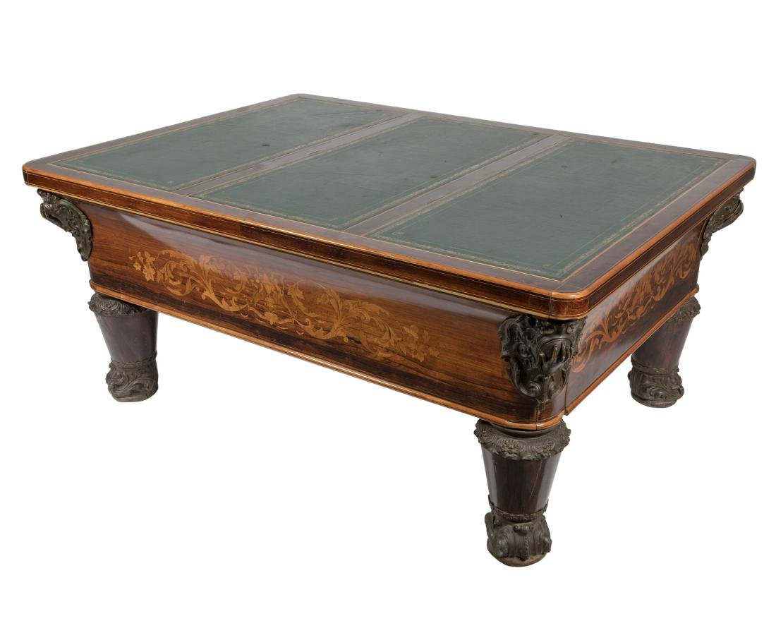 Rosewood Leather Top Entrance Table