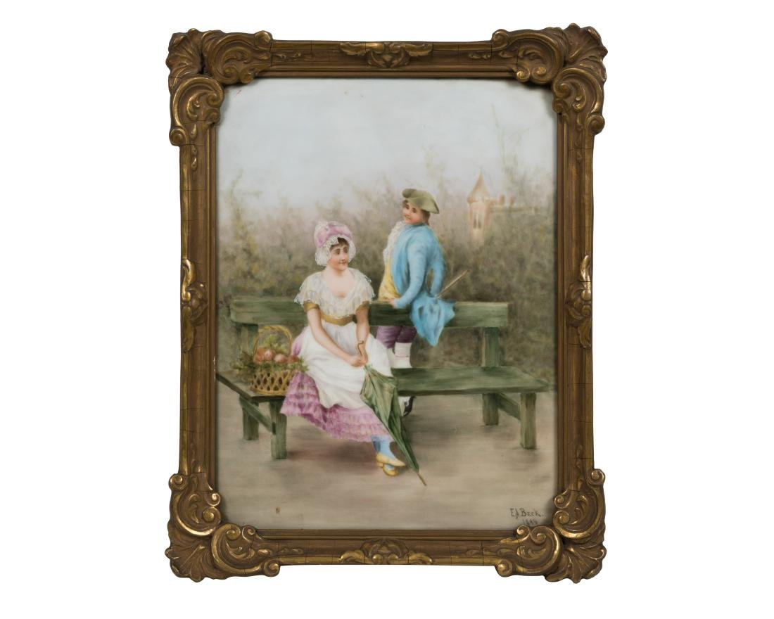 Elite Limoges Porcelain Plaque - Signed