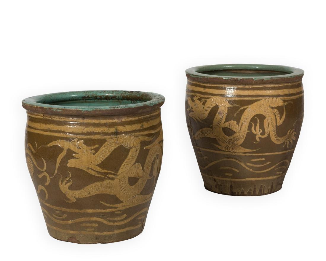 Pair Chinese Fish Bowls