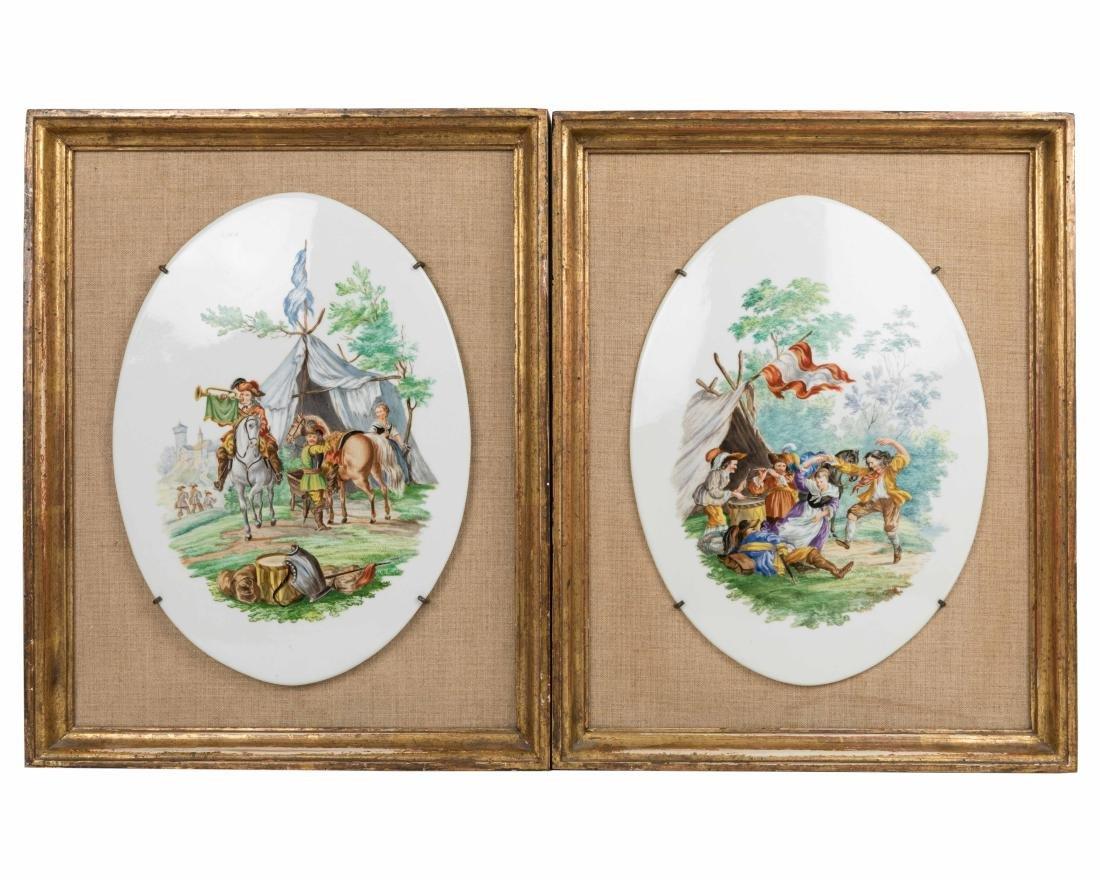 Pair Framed English Porcelain Plaques