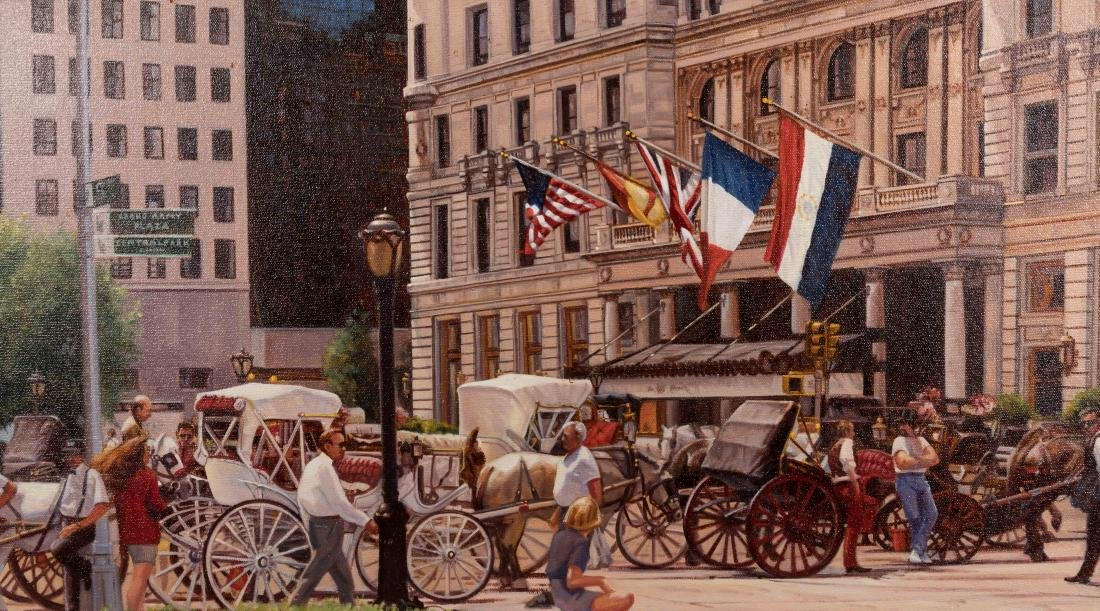 "Oil Painting ""The Plaza"" - Signed Alexander - 3"