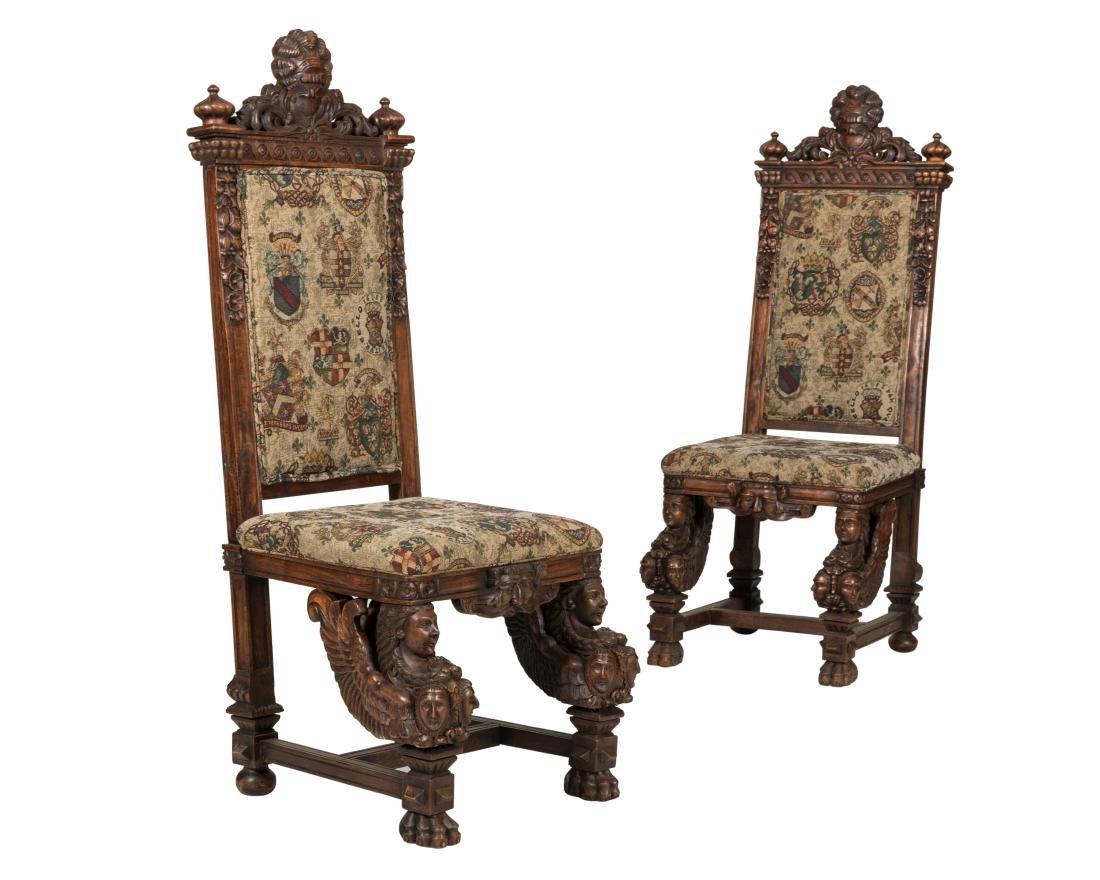 Pair Figural Carved Tapestry Chairs