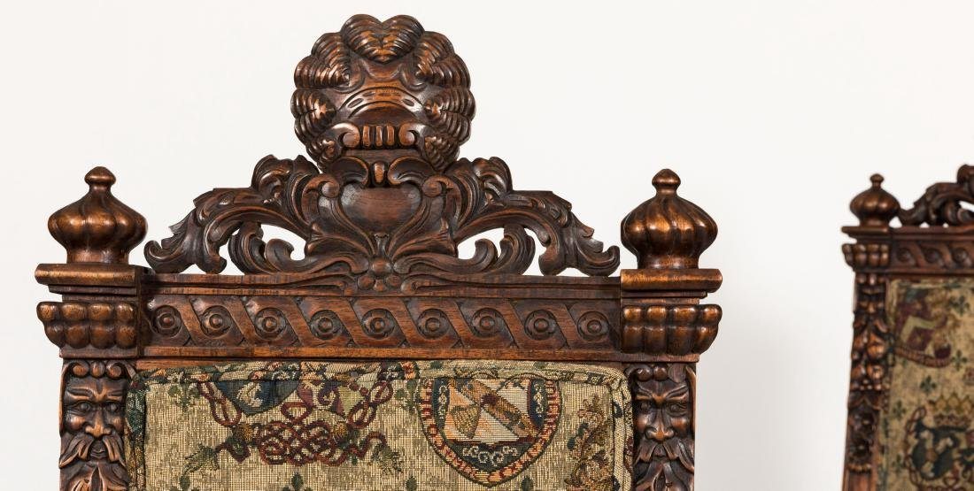 Pair Figural Carved Tapestry Chairs - 2