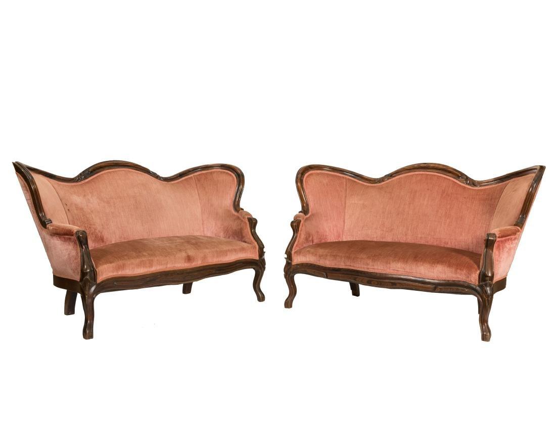 Pair Victorian Loveseats