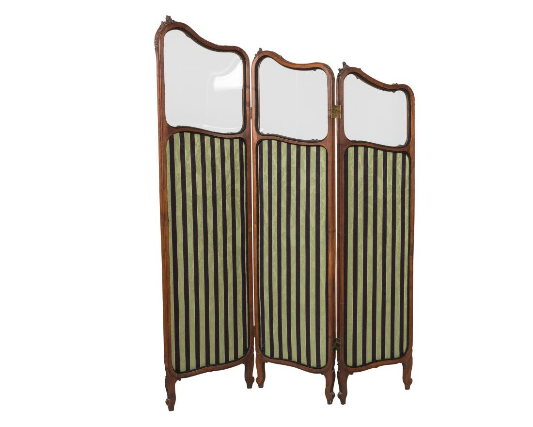 French Three Panel Beveled Mirror Screen