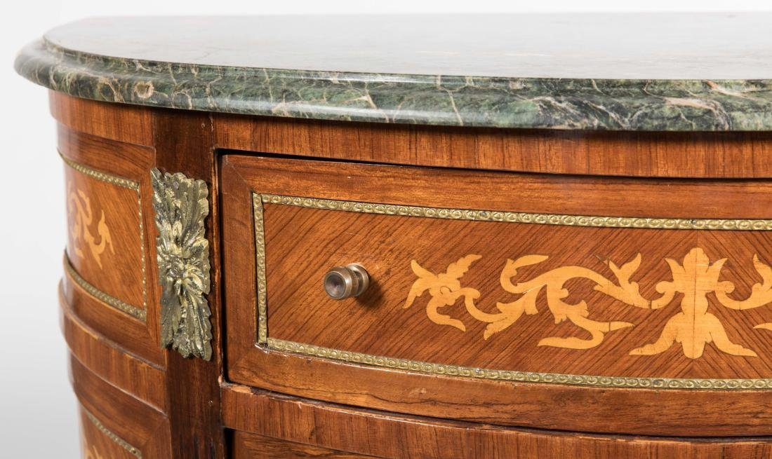 French Style Marble Top Demilune Commode - 2