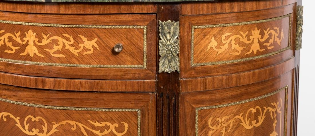 French Style Marble Top Demilune Commode - 4