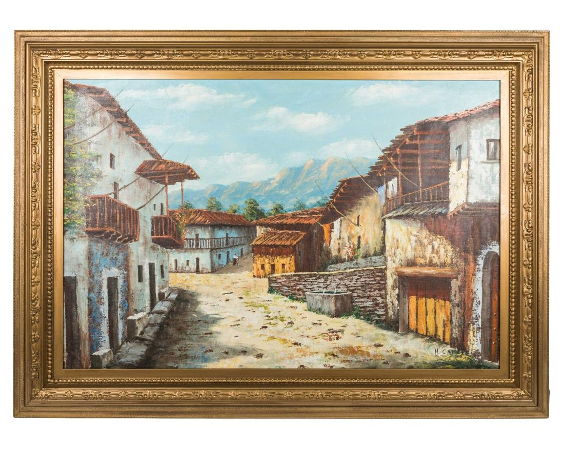 European Mountain Village - Oil on Canvas - Signed