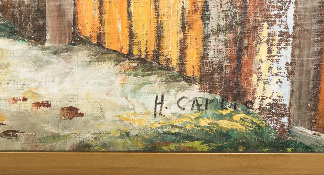 European Mountain Village - Oil on Canvas - Signed - 2