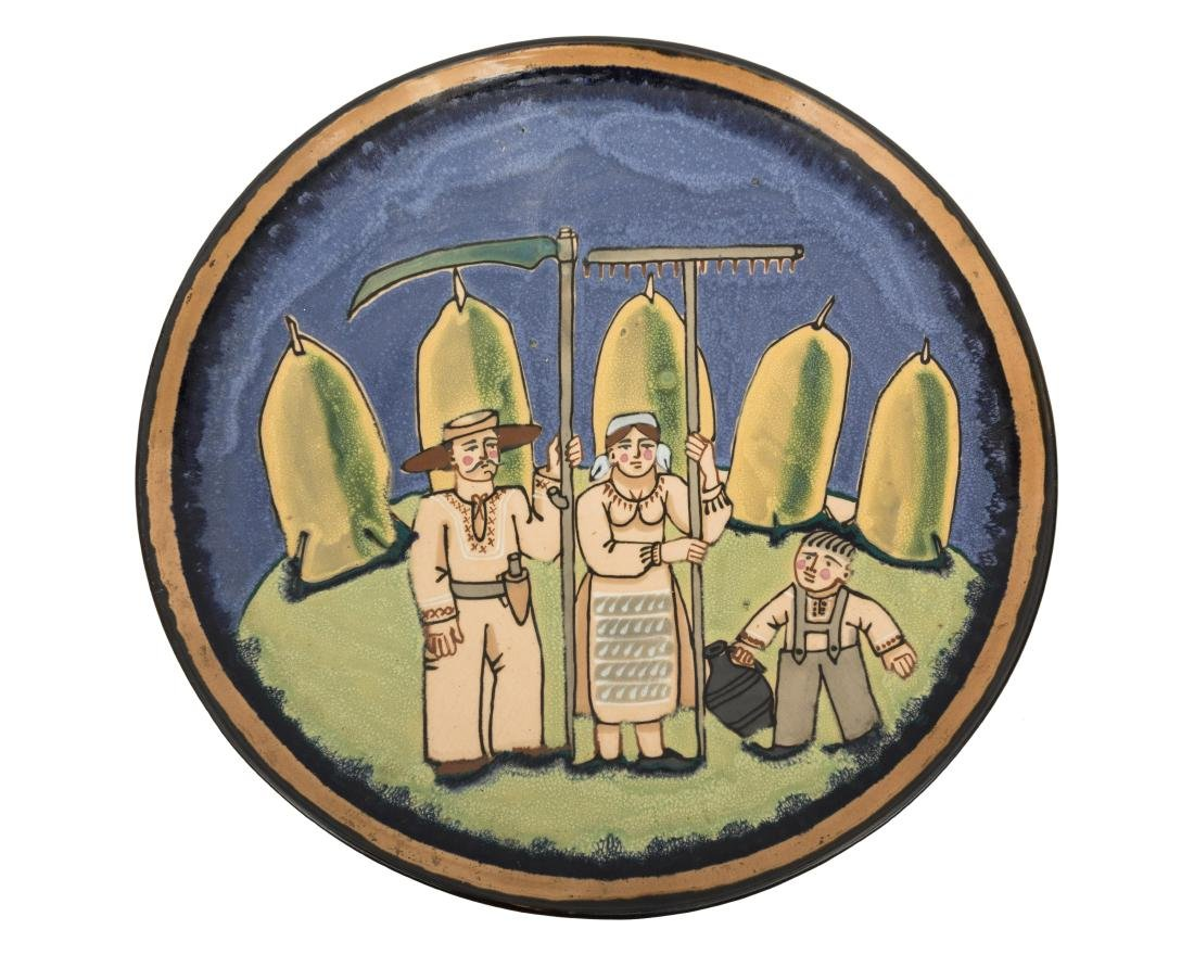 Russian Enameled Pottery Hanging Charger