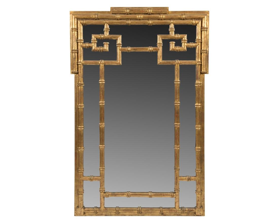 Chinese Modern Faux Bamboo Giltwood Mirror