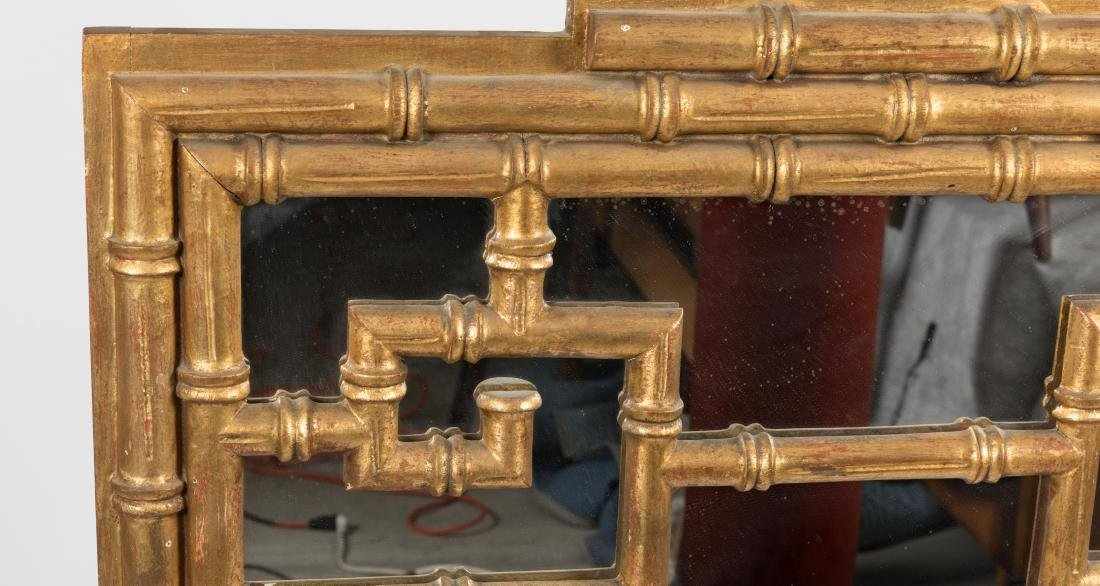 Chinese Modern Faux Bamboo Giltwood Mirror - 2
