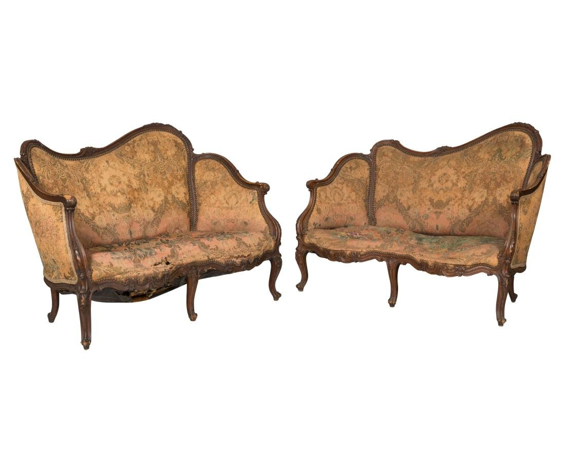 Pair French Style Victorian Loveseats