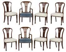 Eight Hepplewhite Style Dining Chairs