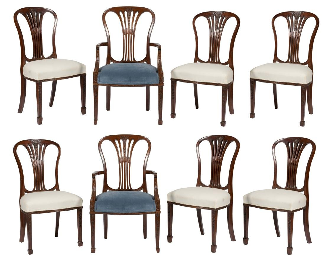 Eight Hepplewhite Style Dining Chairs