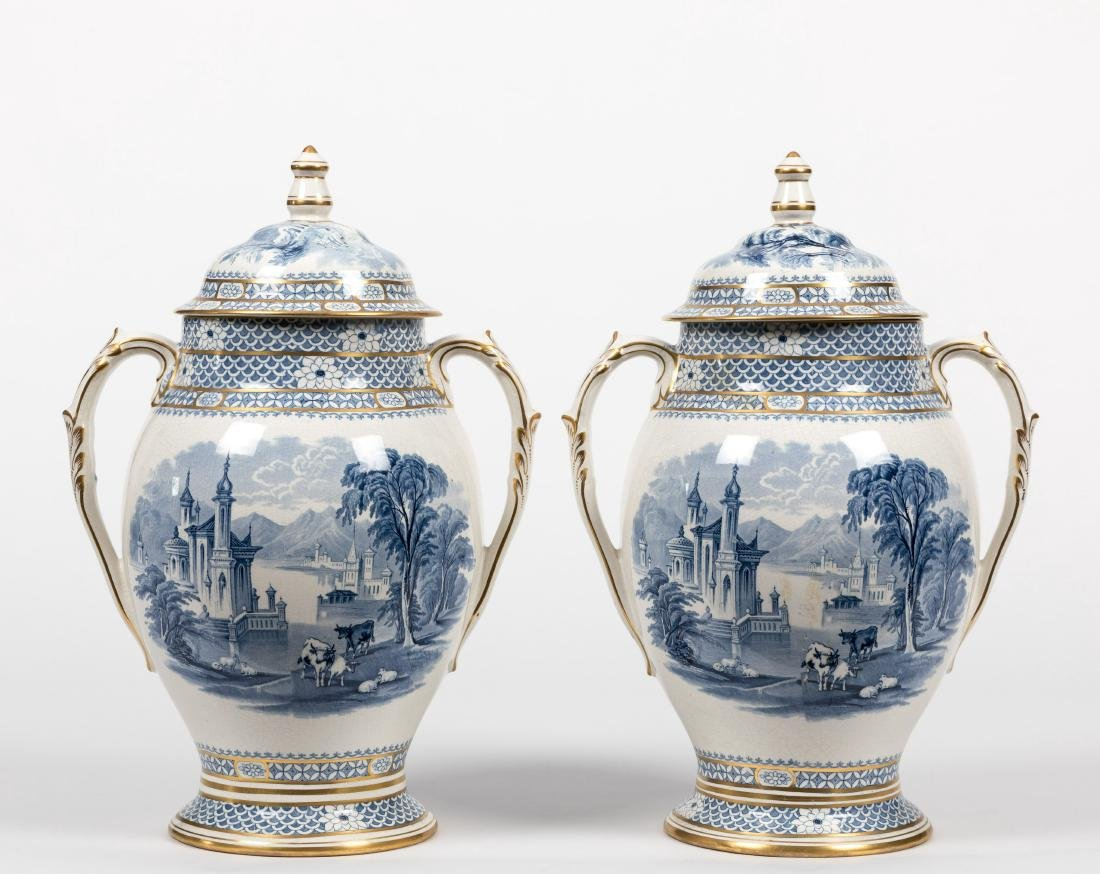 Pair Staffordshire Covered Urns