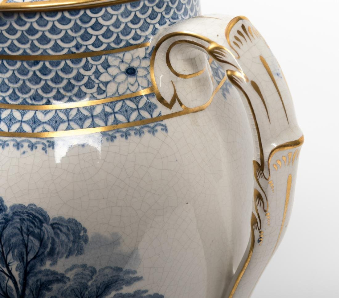 Pair Staffordshire Covered Urns - 5